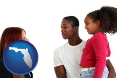 florida map icon and a social worker conversing with clients