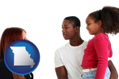 missouri map icon and a social worker conversing with clients