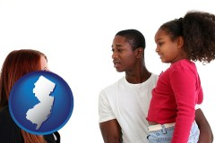 new-jersey map icon and a social worker conversing with clients