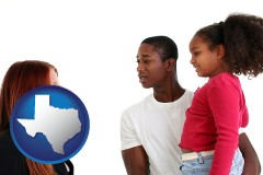 texas map icon and a social worker conversing with clients