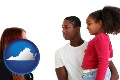 virginia map icon and a social worker conversing with clients
