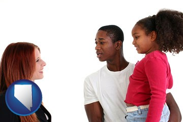 a social worker conversing with clients - with Nevada icon