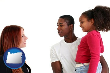 a social worker conversing with clients - with Oregon icon